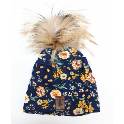 Tuque Blue  ''Yellow flowers''  - pompom in fur