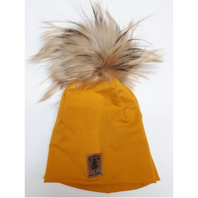 Tuque en coton moutarde - pompom fourrure