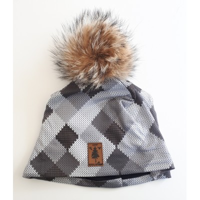 Tuque à carreaux gris