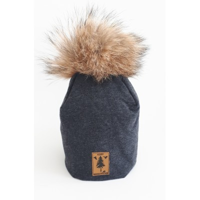 Tuque  in charcoal cotton - 2 to 4 year old