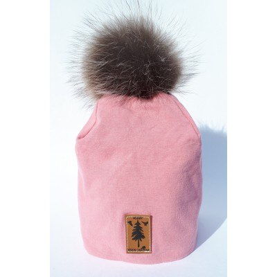 Tuque en  coton rose - pompom fourrure